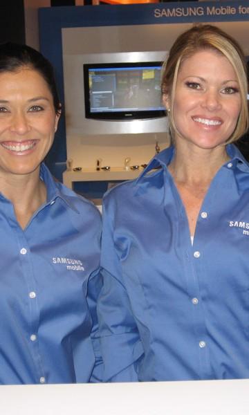 Two Female Models wearing Samsung Shirts